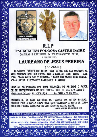 RIP- DE LAUREANO DE JESUS PEREIRA-67 ANOS(FOLGOSA)