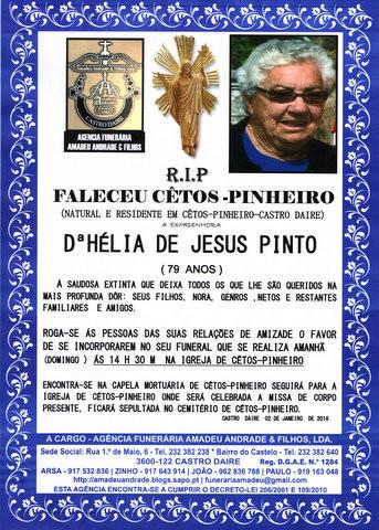 RIP-HÉLIA DE JESUS PINTO-79 ANOS (CÊTOS-PINHEIRO