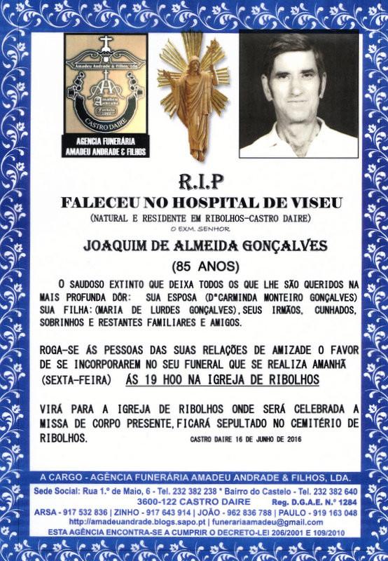 RIP-DE JOAQUIM DE ALMEIDA GONÇALVES-85 ANOS (RIBO