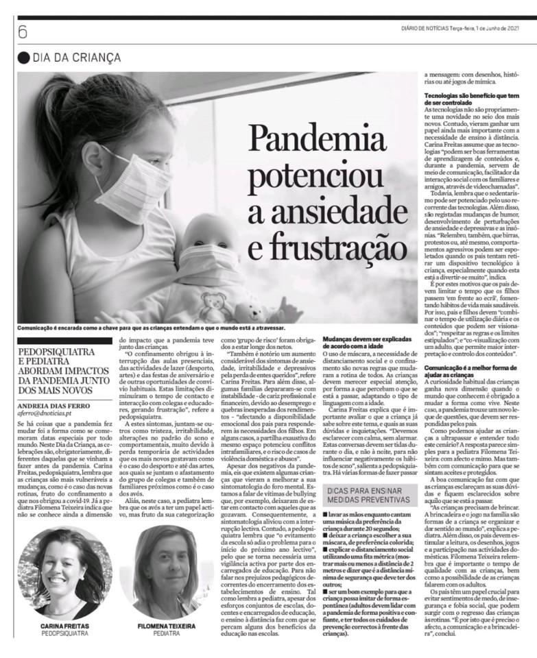 1 de junho de 2021 - Diário de Noticias - Pandemi