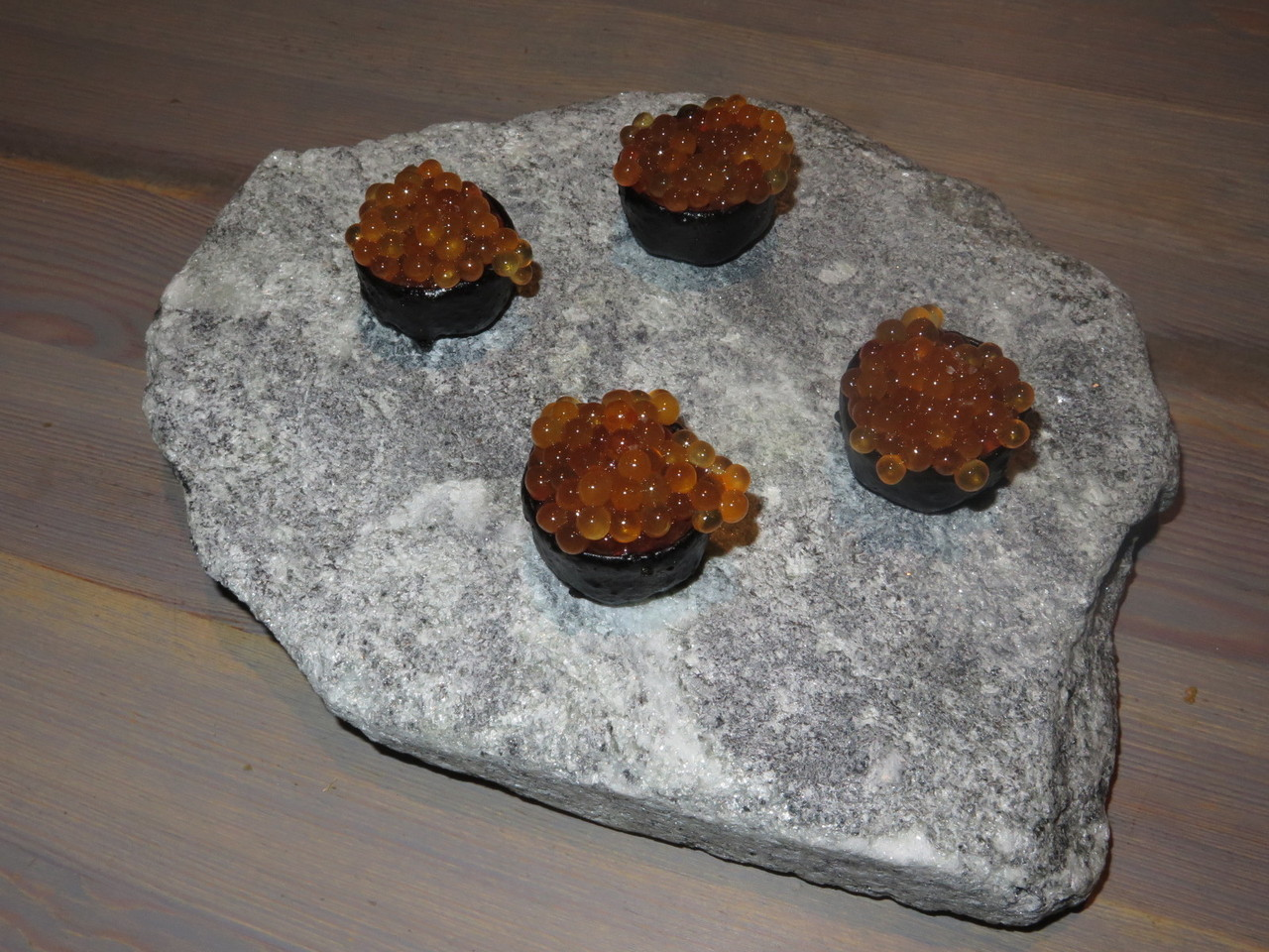 Wild trout roe served in a crust of dried pig's blood