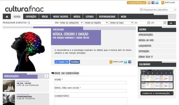 Printscreen Agenda FNAC - Música, Cérebro e Emo