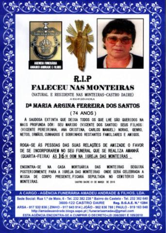 RIP-MARIA ARGINA FERREIRA DOS SANTOS-74 ANOS (MONT