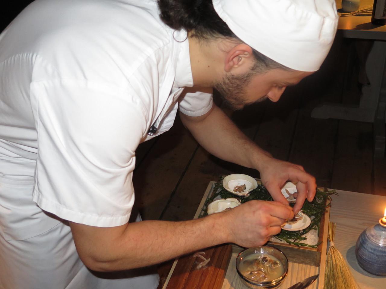 Mahogany clam with beer vinegar