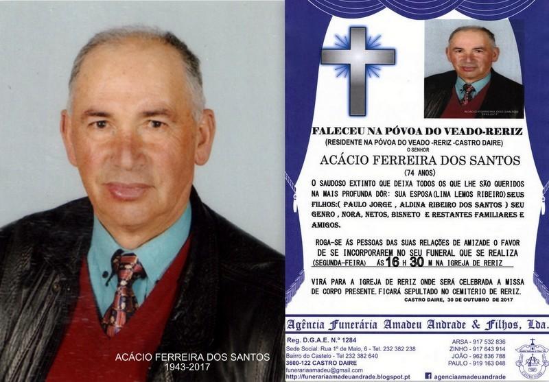 FOTO E RIP  DE ACÁCIO FERREIRA DOS SANTOS-74 ANOS