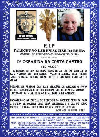 RIP-CESARINA DA COSTA CASTRO -82 ANOS (PEIXENINHO-
