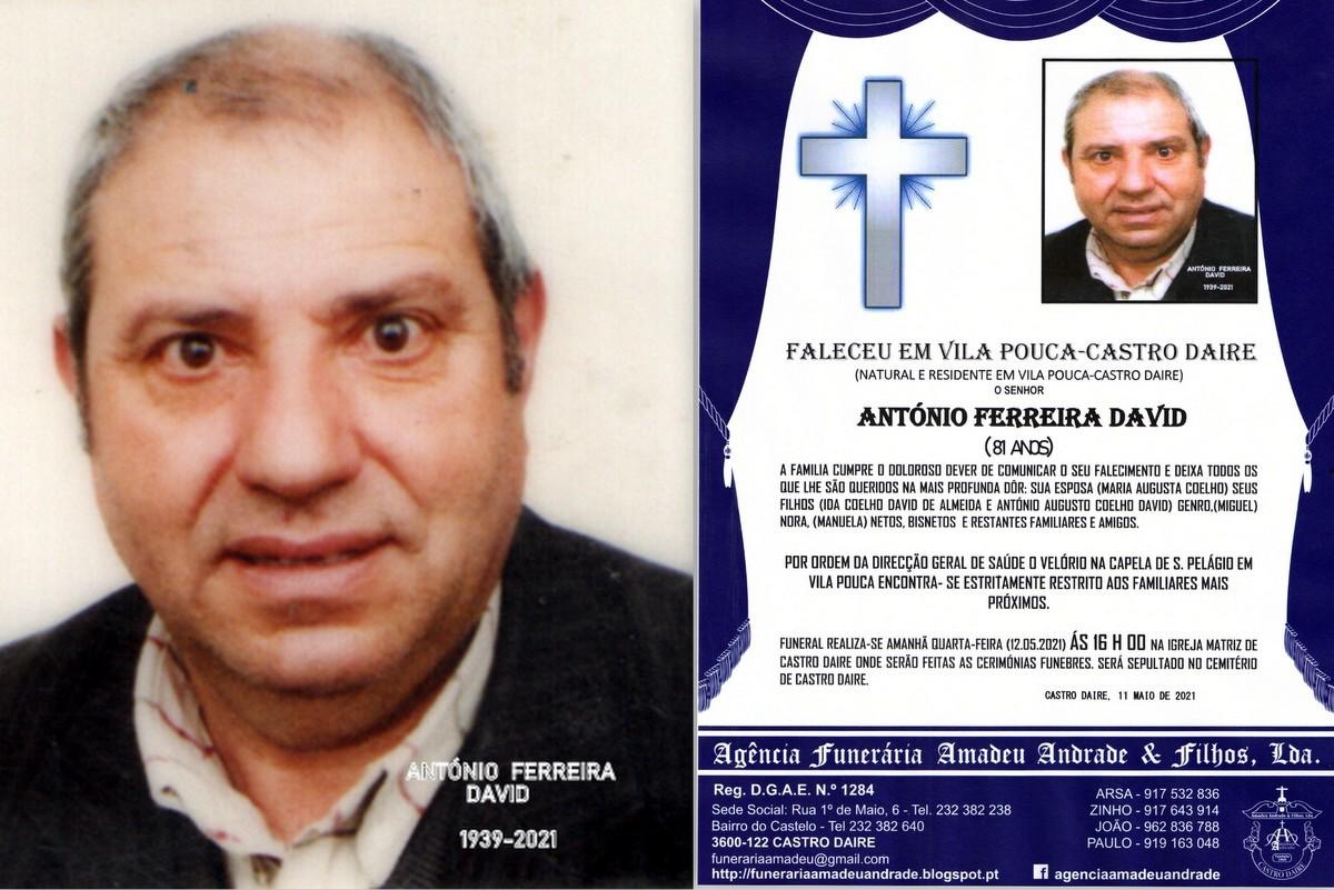RIP-ANTÓNIO FERREIRA DAVID-81 ANOS (VILA POUCA-CA