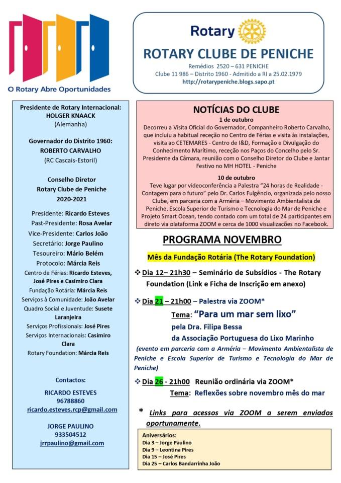Programa de novembro do Rotary Clube de Peniche (0