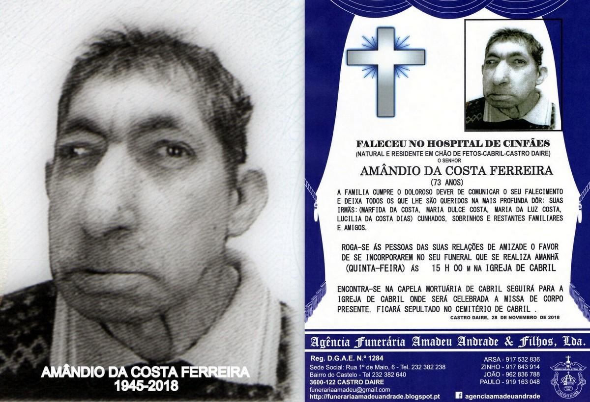 RIP-FOTO DE AMÂNDIO DA COSTA FERREIIRA-73 ANOS (C