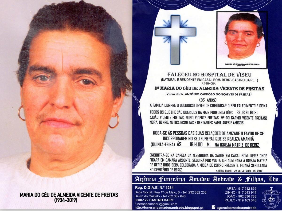 FOTO RIP DE MARIA DO CÉU DE ALMEIDA VICENTE FREIT