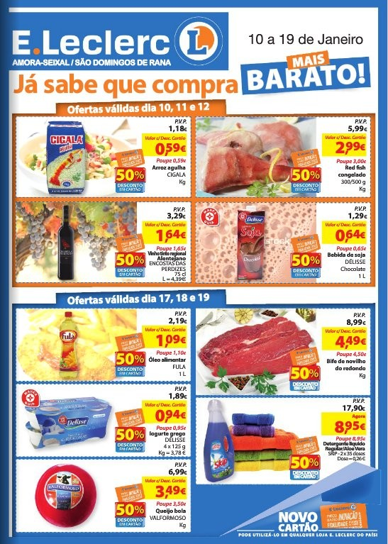 Antevisão folheto   E-LECLERC   Amora-Seixal e S. D. Rana, de 10 a 19 janeiro