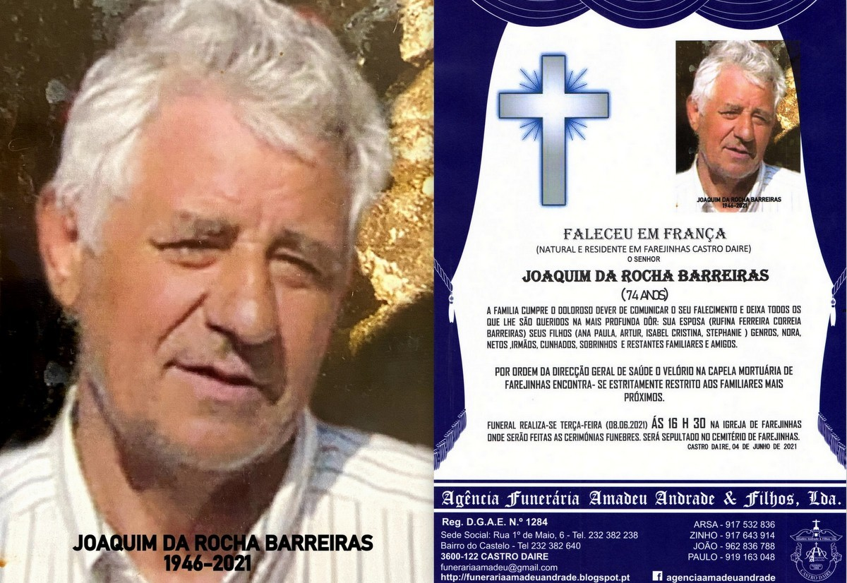 FOTO RIP DE JOAQUIM DA ROCHA BARREIRAS-74 ANOS (FA