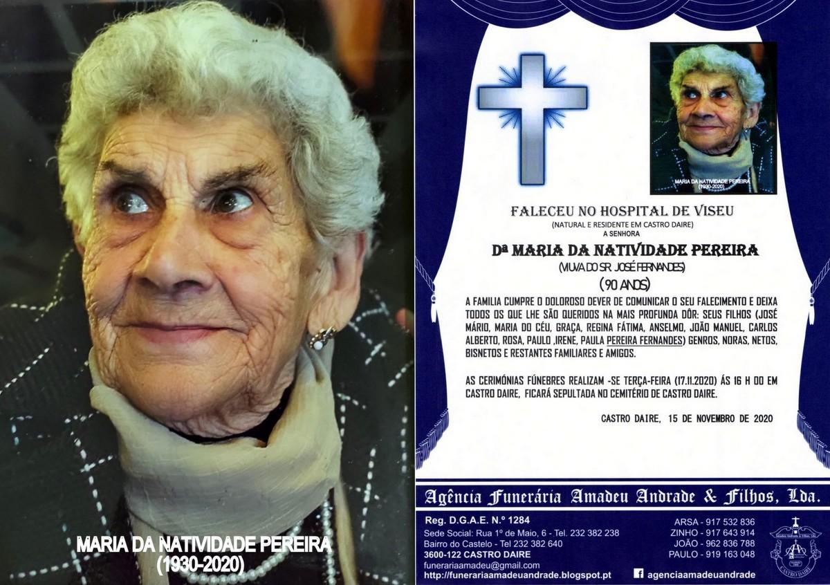 FOTO RIP  DE MARIA DA NATIVIDADE PEREIRA(1930-2020