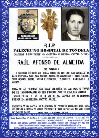 RIP- DE RAUL AFONSO DE ALMEIDA-94 ANOS (MOSTEIRO P