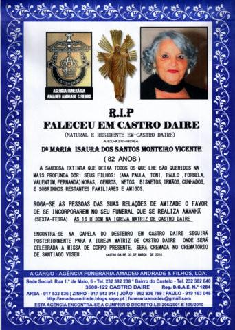 RIP-MARIA ISAURA DOS SANTOS MONTEIRO VICENTE-82 AN