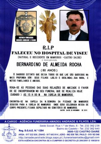 RIP-BERNARDINO DE ALMEIDA ROCHA-80 ANOS (MAMOUROS)