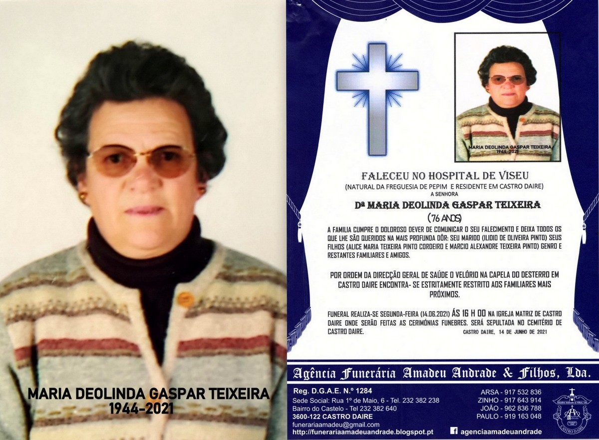 FOTO RIP DE MARIA DEOLINDA GASPAR TEIXEIRA-76 ANOS