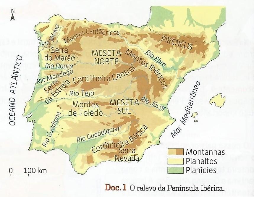 Relevo Da Peninsula Iberica Toca A Estudar