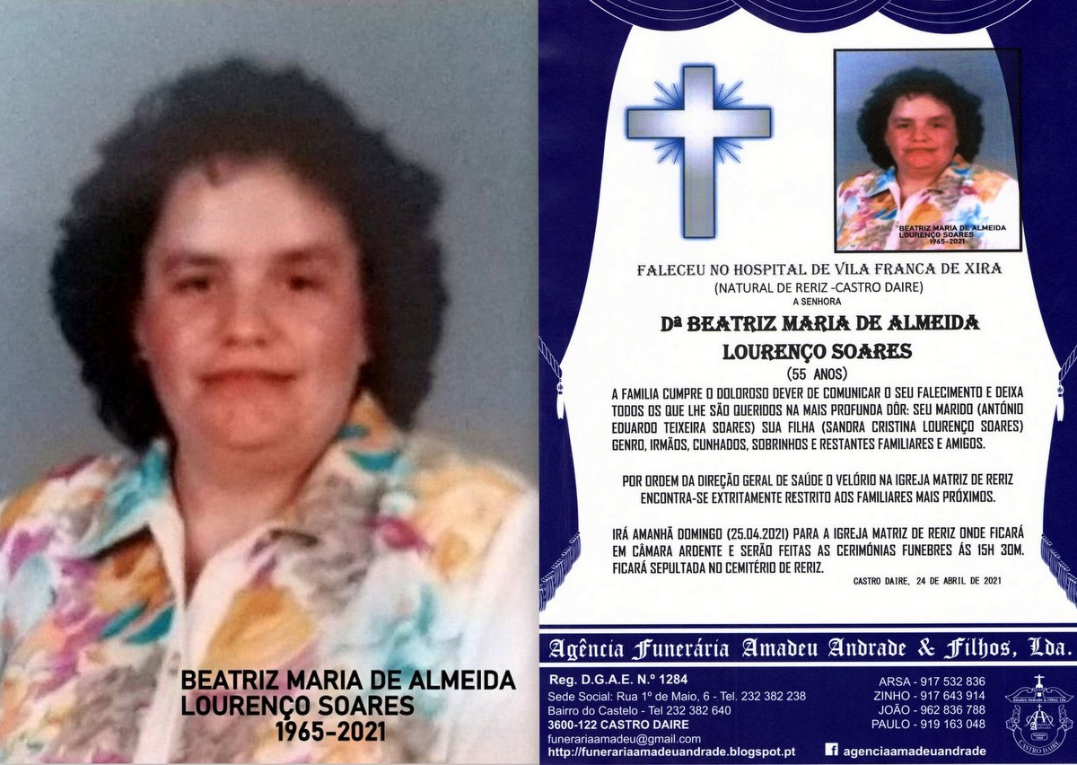 FOTO RIP DE BEATRIZ MARIA DE ALMEIDA LOURENÇO SOA