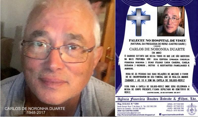 FOTO RIP- DE CARLOS DE NORONHA DUARTE-69 ANOS (SOL