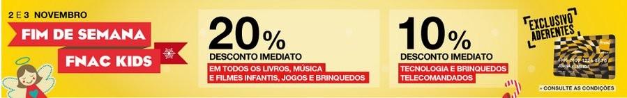 20% de desconto   FNAC KIDS   2 e 3 novembro