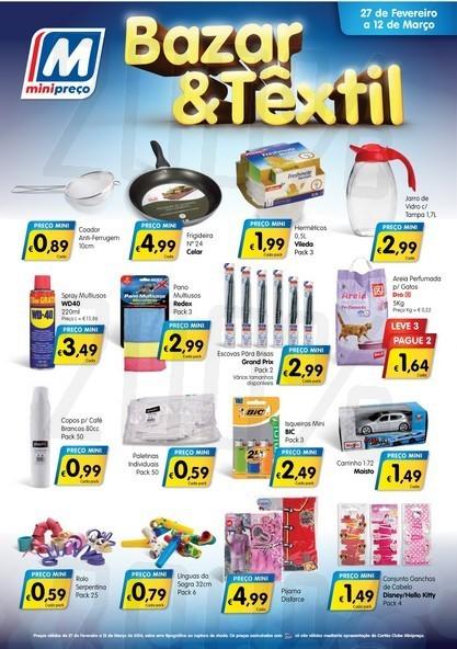 Novo folheto | MINI PREÇO | Bazar & Têxtil de 27 fevereiro a 12 março