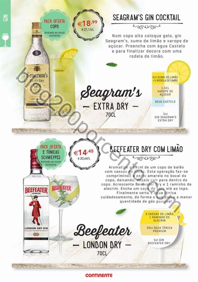 Antevisão Folheto CONTINENTE Cocktails & Gins promoções de