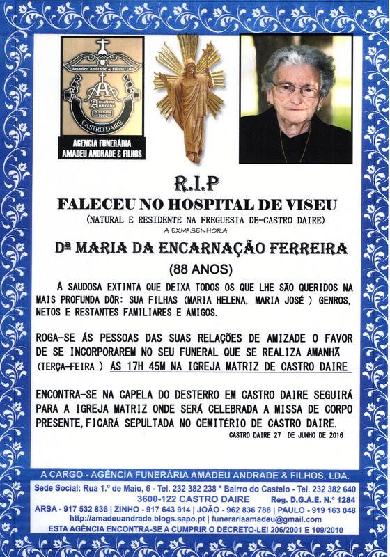 RIP- DE MARIA DA ENCARNAÇÃO FERRERA-88 ANOS (CAS