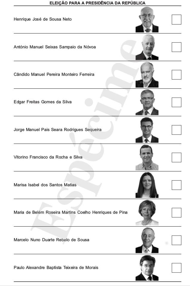 Boletim voto Presidenciais 2016