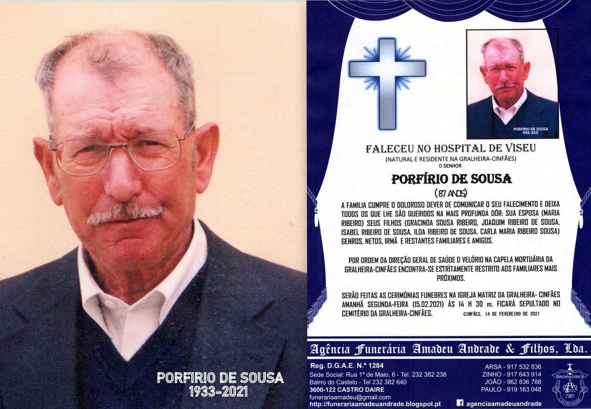 FOTO RIP DE PORFIRIO DE SOUSA-87 ANOS (GRALHEIRA).
