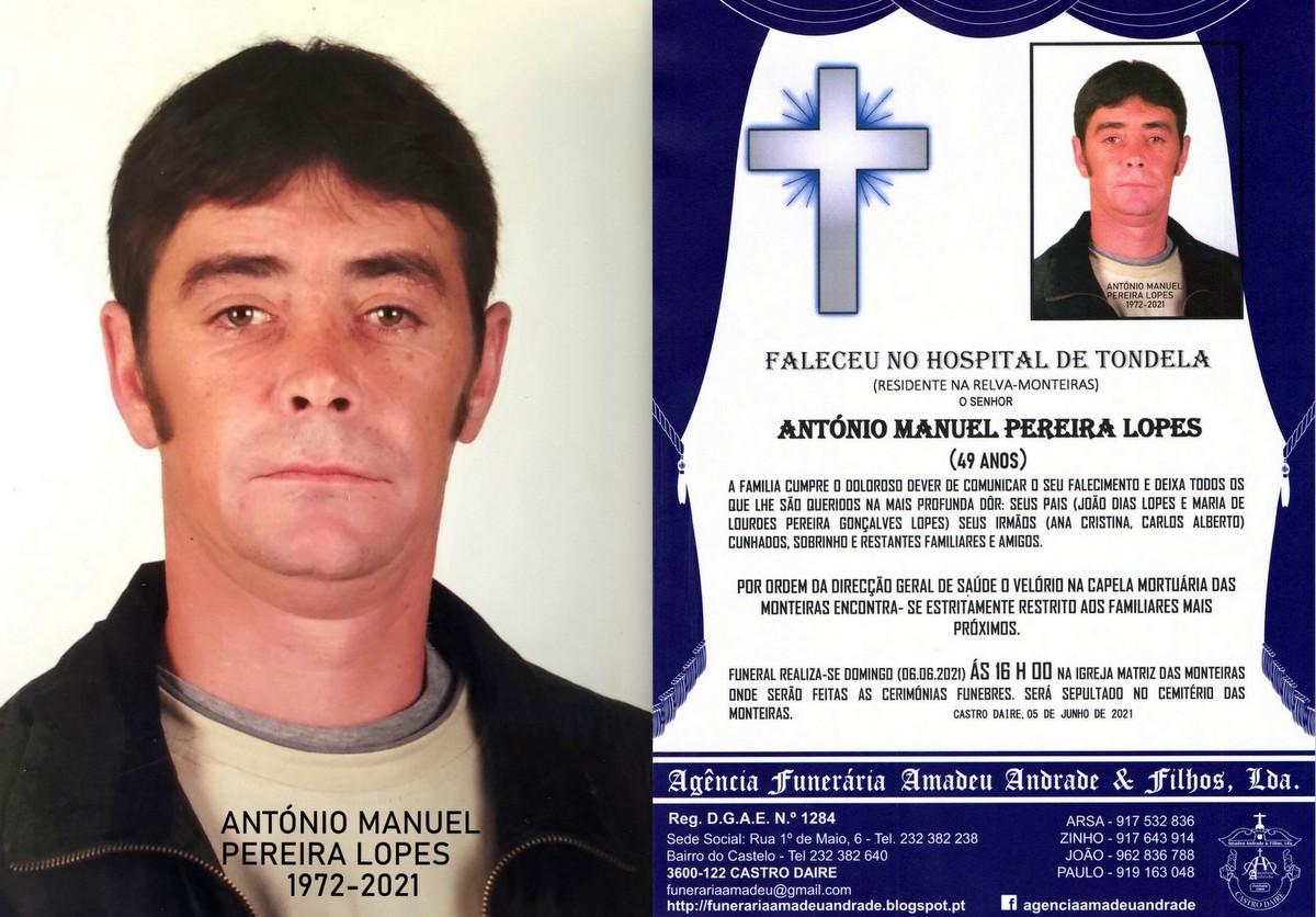 FOTO RIP  DE ANTÓNIO MANUEL PEREIRA LOPES-49 ANOS