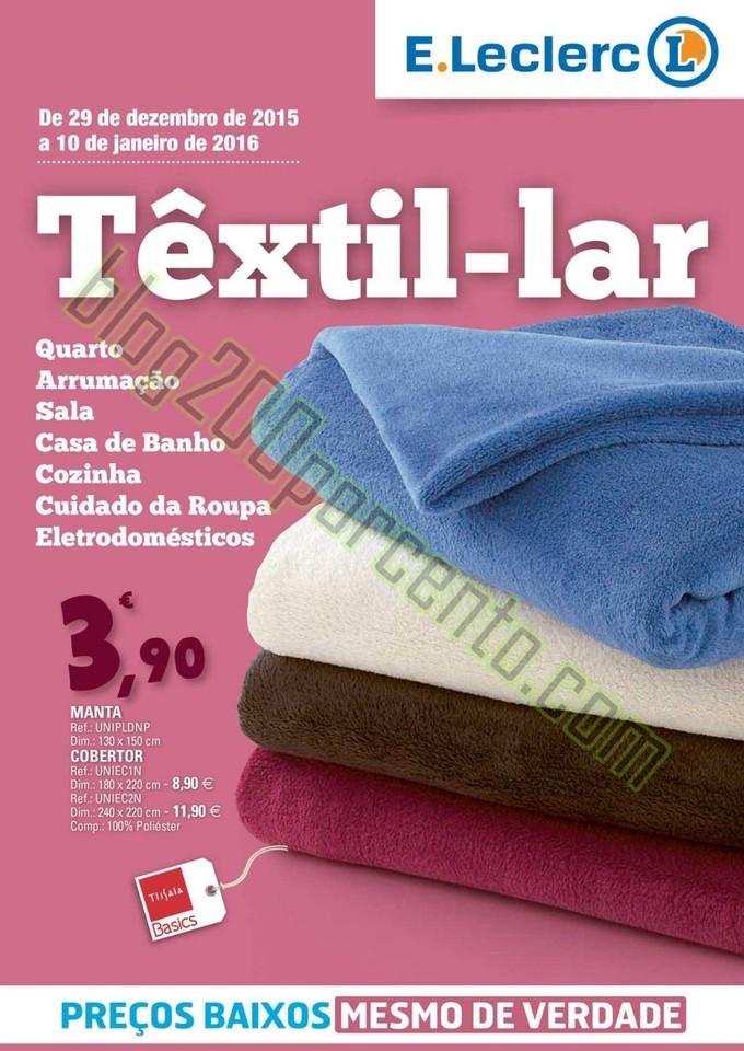 Antevisão Folheto E-LECLERC Têxtil Lar de 29 dez