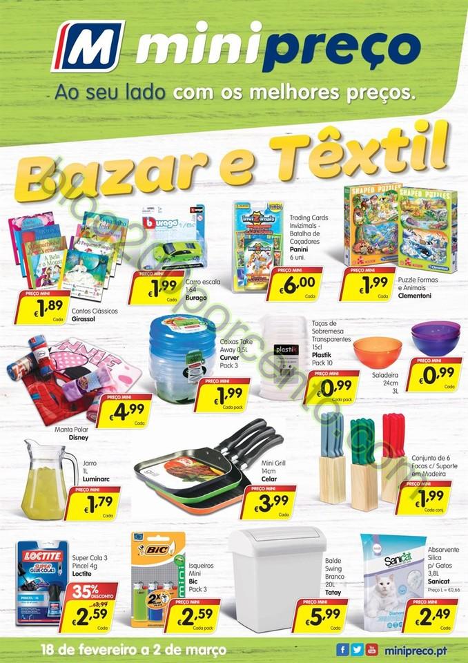 Antevisão Folheto MINIPREÇO Bazar de 18 fevereir