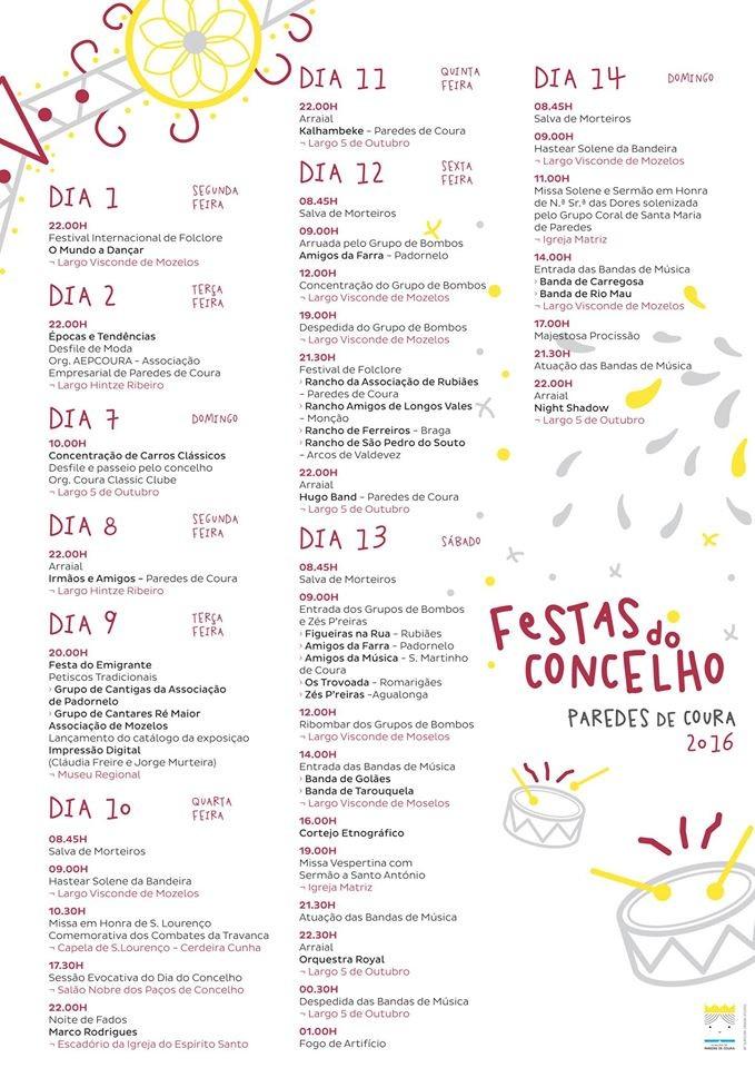 programa Festas Paredes Coura 2016