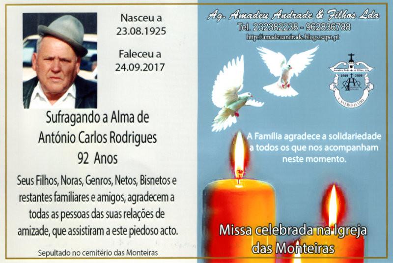 CARTÃO DE AGRADECIMENTO-ANTÓNIO CARLOS RODRIGUES