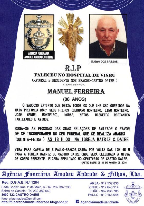 RIP MANUEL FERREIRA-88 ANOS (BRAÇOS -CASTRO DAIRE