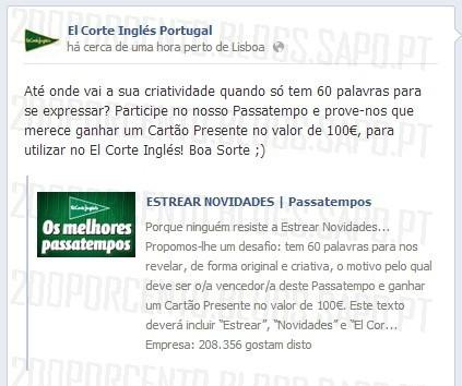 Passatempo ganha 100€   EL CORTE INGLÉS  