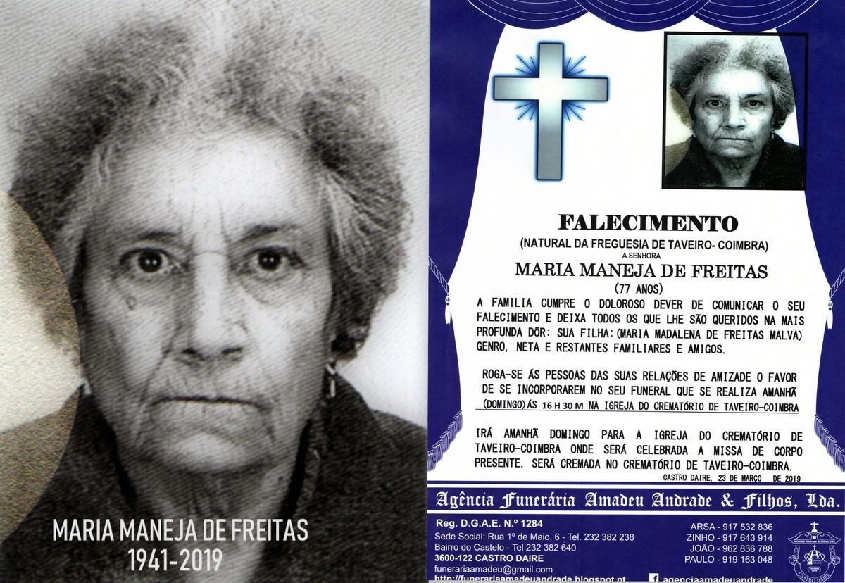 RIP-FOTO  MARIA MANEJA DE FREITAS - 77  ANOS (TAVE