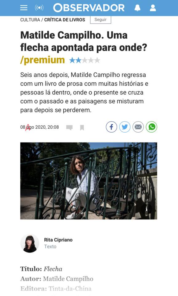 Rita Cipriano, «», in Observador, 8/VIII/20