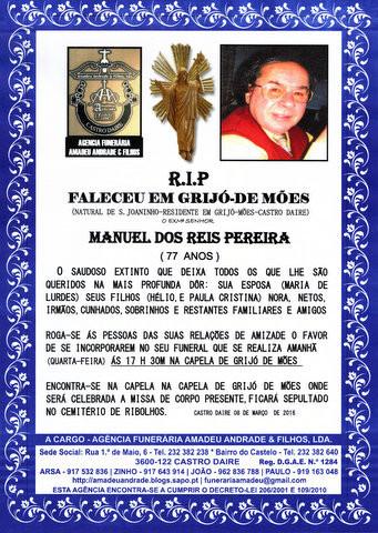 RIP-DE MANUEL DOS REIS PEREIRA-77 ANOS (GRIJÓ-MÕ