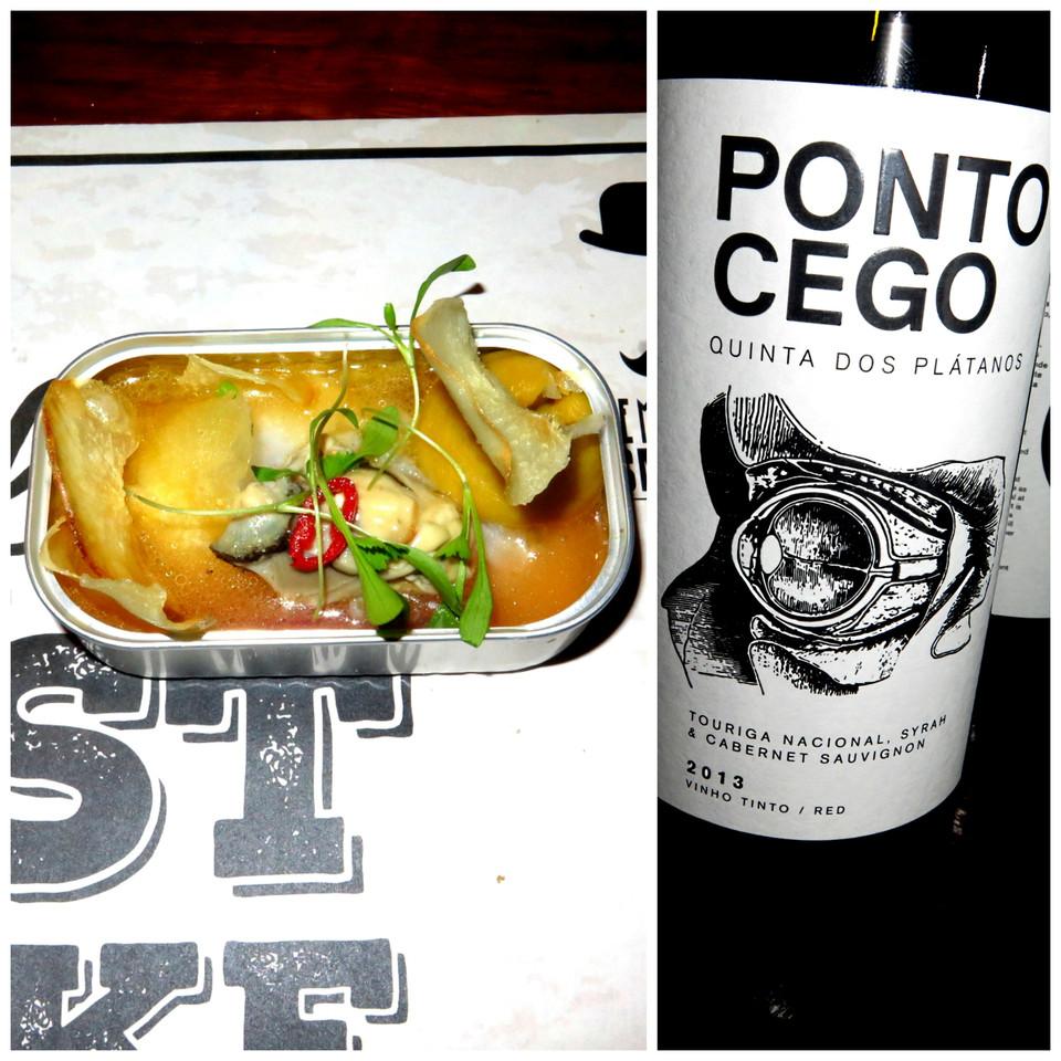 Ceviche de ostras, batata-doce e chips de macaxeira / Quinta dos Plátanos Ponto Cego Tinto 2013