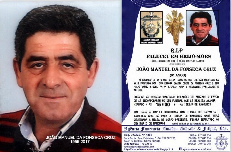 FOTO RIP-DE JOÃO MANUEL DA FONSECA CRUZ -87 ANOS