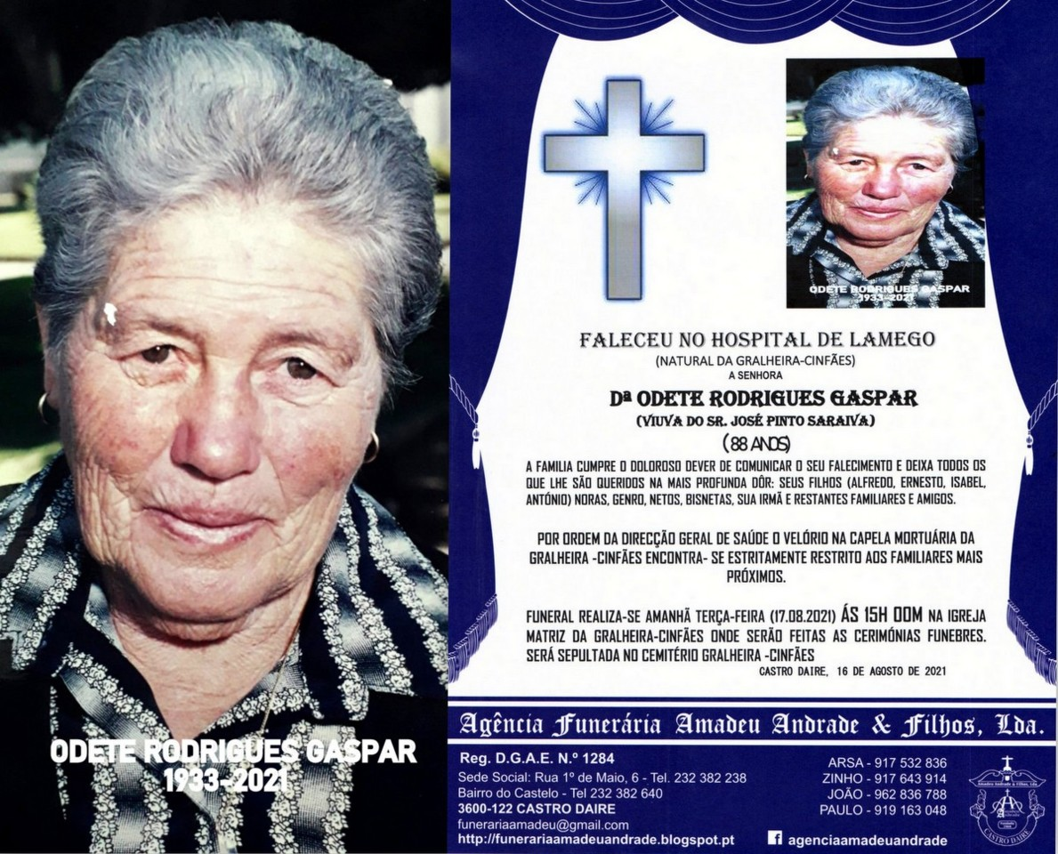 FOTO RIP  DE ODETE RODRIGUES GASPAR -88 ANOS (GRAL