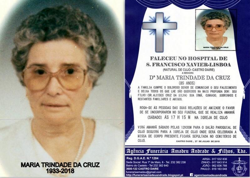 FOTO RIP-DE MARIA TRINDADE DA CRUZ -85 ANOS (CUJÓ