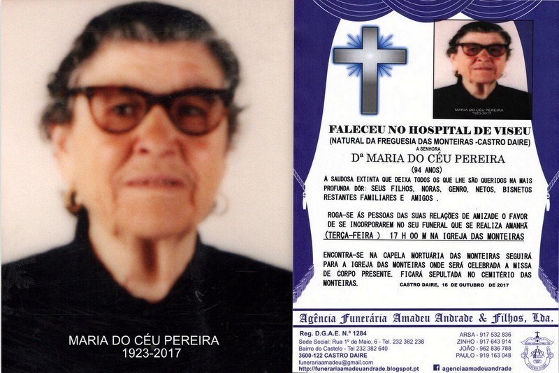 FOTO-RIP  DE MARIA DO CÉU PEREIRA-94  ANOS (MONTE