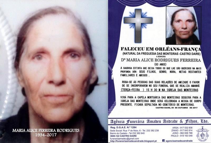 FOTO RIP-  DªMARIA ALICE RODRIGUES FERREIRA -83 A