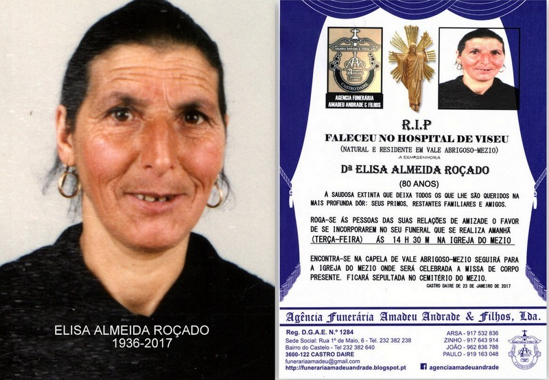 FOTO -RIP -ELISA ALMEIDA ROÇADO -80 ANOS (VALE AB