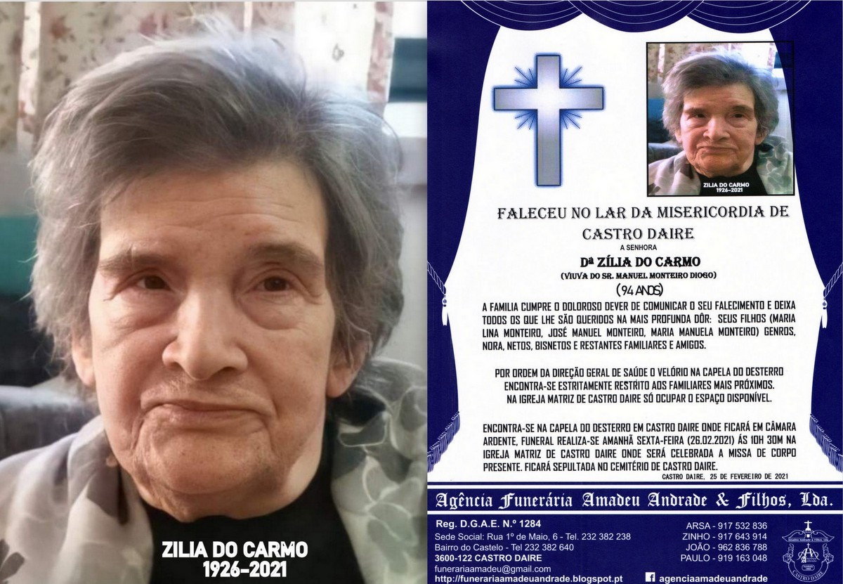 FOTO RIP DE ZÍLIA DO CARMO-94 ANOS (CASTRO DAIRE)