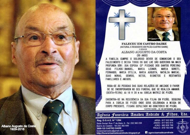 FOTO RIP DE ALBANO AUGUSTO DA COSTA-89 ANOS(PICÃO