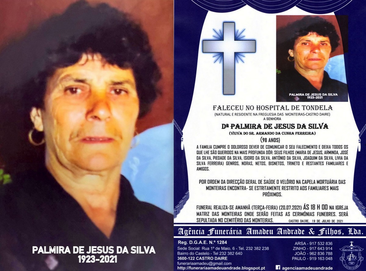 FOTO RIP  PALMIRA DE JESUS DA SILVA -98 ANOS (MONT